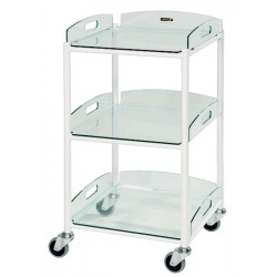 Dressing Trolley, 3 Glass Effect Safety Trays CODE:-MMTRO005