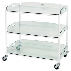 Dressing Trolley, 3 Glass Effect Safety Trays CODE:-MMTRO006